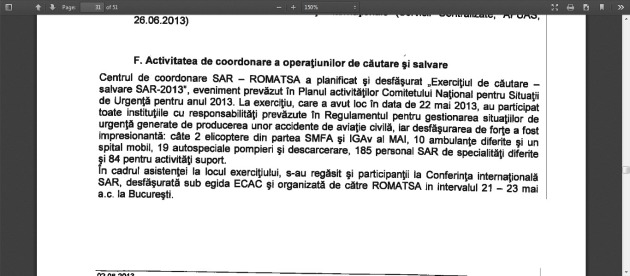Raport de activitate ROMATSA Semestrul I 2013.